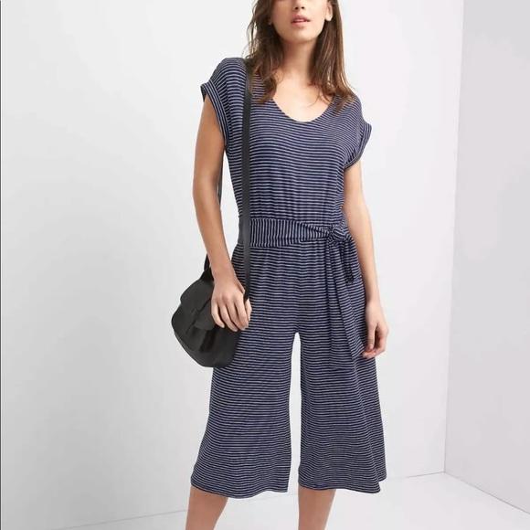 7d60494bf70 GAP Pants - Gap Striped Culotte Romper Jumpsuit Blue White